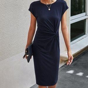 Navy Twist-Accent Bodycon Dress